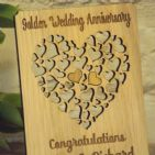 Personalised 50th Golden Wedding Anniversary, Filigree Hearts Card Plaque Gift
